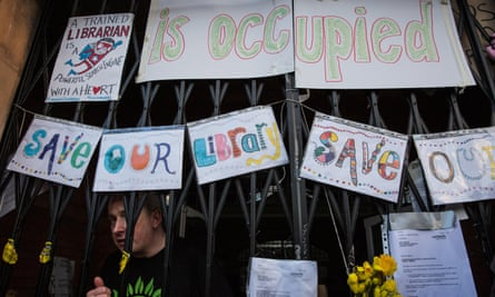 A protest against plans to turn the Carnegie Library in Herne Hill, south London, into a private gym
