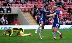 Chelsea's Jessie Fleming celebrates scoring their side's sixth goal of the game.