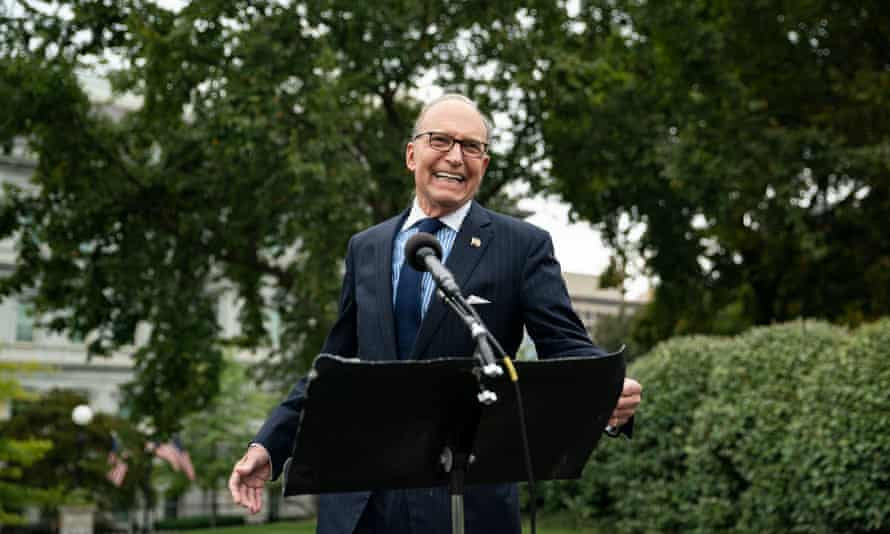 Larry Kudlow outside the White House on 25 September. Kudlow is vice-chair of the board.