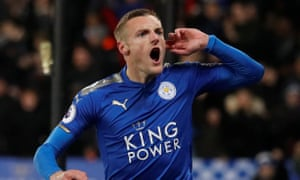 Jamie Vardy celebrates the opening goal with a message to Tottenham's travelling fans.