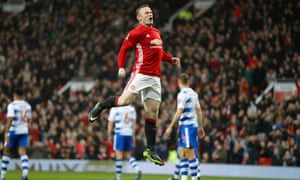 Wayne Rooney celebrates equalling Bobby Charlton's record of 249 Manchester United goals, against Reading in the FA Cup.
