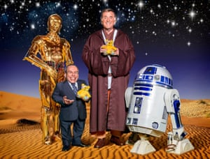 C-3PO, Warwick Davis, Terry Wogan and R2-D2 star in BBC Children in Need's Star Wars sketch in 2015