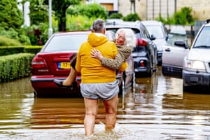 South Limburg, Netherlands: The fire brigade helps evacuate people from their flooded homes.