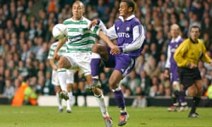 The young Kompany challenges Celtic's Henrik Larsson in a Champions League tie in 2003