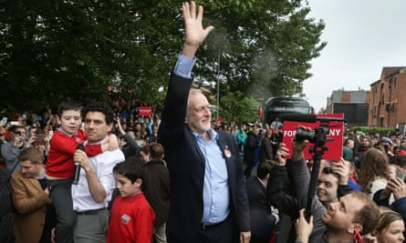 Jeremy Corbyn campaigning in Leeds on Monday