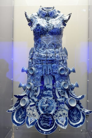 A dress by Li Xiaofeng is displayed as part of China Through the Looking Glass at the Metropolitan Museum of Art in New York.