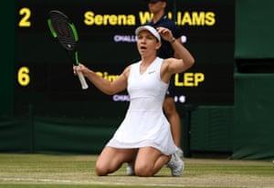 Simona Halep celebrates championship point.