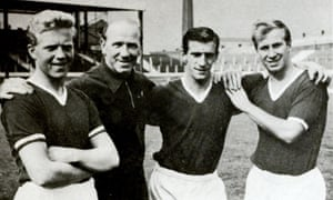 Team player ... Viollet, third from left, with Albert Quixhall, Matt Busby and Bobby Charlton.