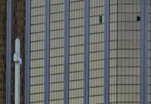 Two broken windows at the Mandalay Bay hotel in Las Vegas