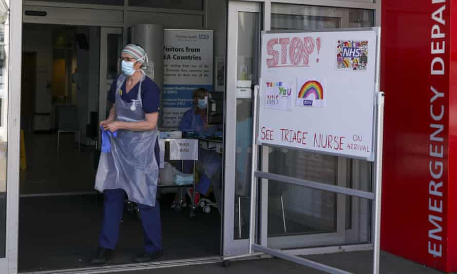 A triage nurse waits for patients to arrive in the emergency department at Frimley Park hospital in Camberley.
