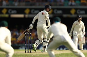 James Vince of England edges the ball straight to first slip.