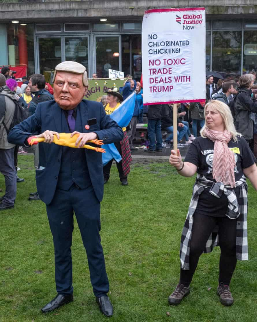 A protest against US chlorinated chicken outside the Conservative party conference in Manchester last October.