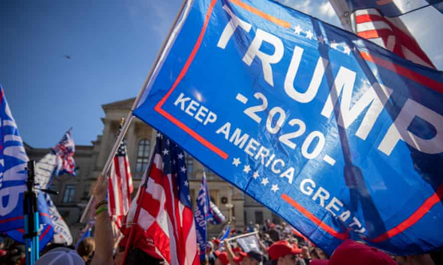 Supporters of Donald Trump participate in a 'Stop the Steal' rally outside of the Georgia state capitol in Atlanta on 21 November.