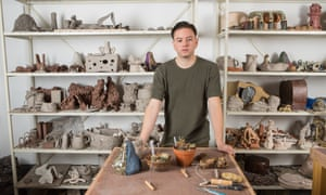 'It's a romantic, fatalistic thing': Aaron Angell at his studio in Hoxton.