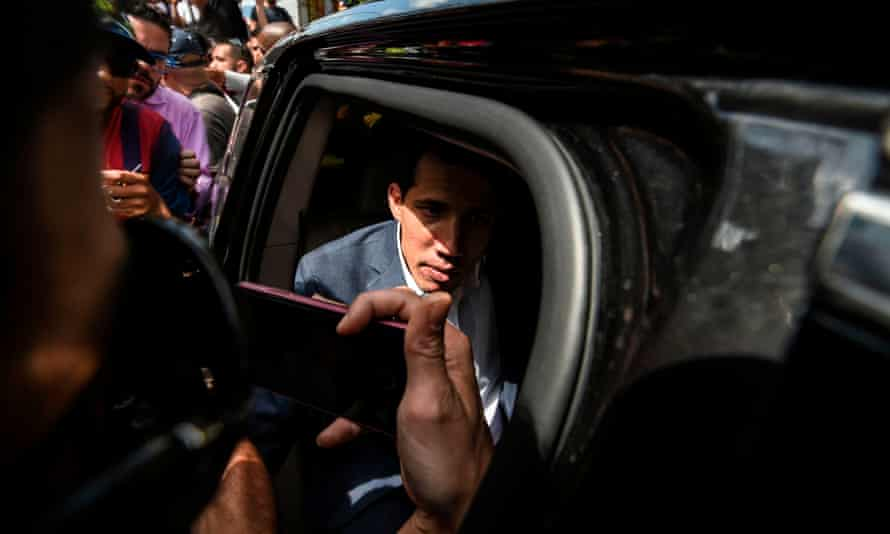 Juan Guaidó arrives to take part in the gathering in Caracas.