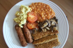 Veggie fry up breakfast at Loaf B&B, Northumberland