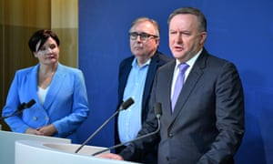 NSW Labor leader Jodi McKay, Michael Lavarch and federal leader Anthony Albanese