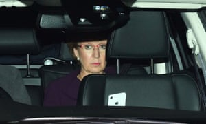 Andrea Leadsom, leader of the Commons, arriving at parliament last night ahead of the Brexit votes.