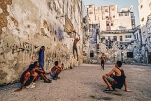 A pick-up game of basketball in Old Havana