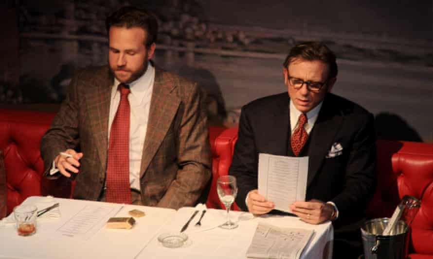 """Opening night of the play """"Betrayal"""" in New York City with Daniel Craig and Rafe Spall sitting at a dining table"""