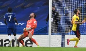 Watford keeper Ben Foster reacts following Olivier Giroud's goal.