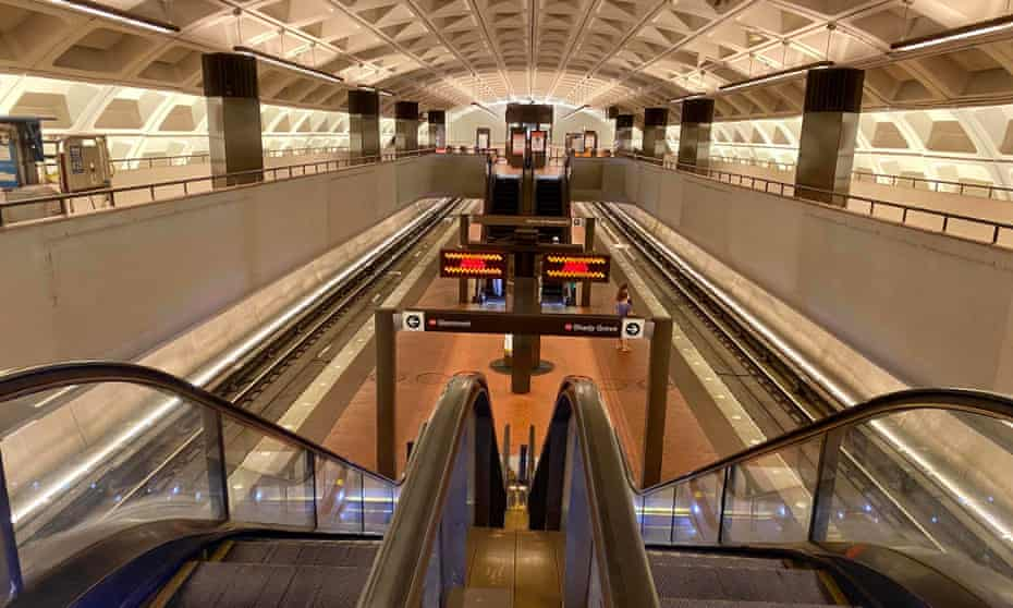 An empty Washington Metro station ... in A Song for a New Day, gatherings are forbidden due to terrorist attacks and viral plagues.