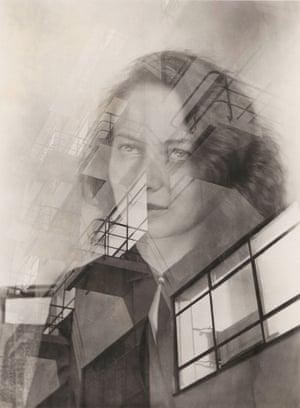 Judit Kárász: Portrait of Otti Berger with the facade of the Bauhaus, double exposure