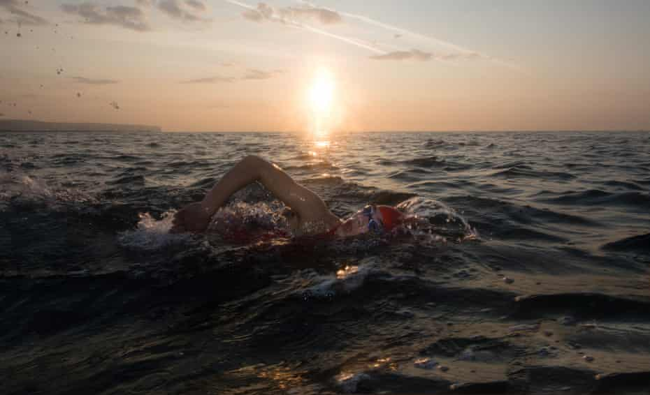 Lucy on the first leg of the swim from Dover