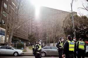 There was still a heavy police presence outside the North Melbourne towers late last week.