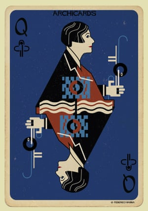 Eileen Gray portrayed in one of Federico Babina's Archicards