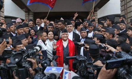 Khadga Prasad Oli outside the constituent assembly in Kathmandu, Nepal