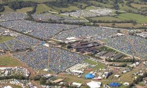 Campsites at Glastonbury festival