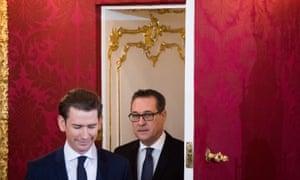 Austria's chancellor, Sebastian Kurz (left), vice-chancellor, Heinz-Christian Strache of the Freedom party.