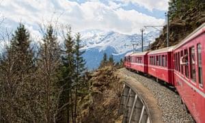 The Bernina Express train from Tirano in Italy to ST Moritz in Switzerland.