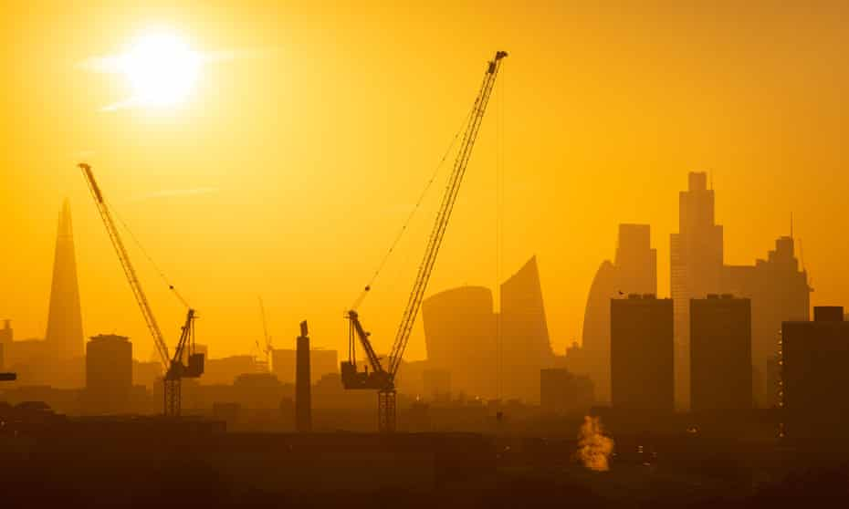 The skyline of London's financial district in January 2020 with a number of substantial office projects under development.