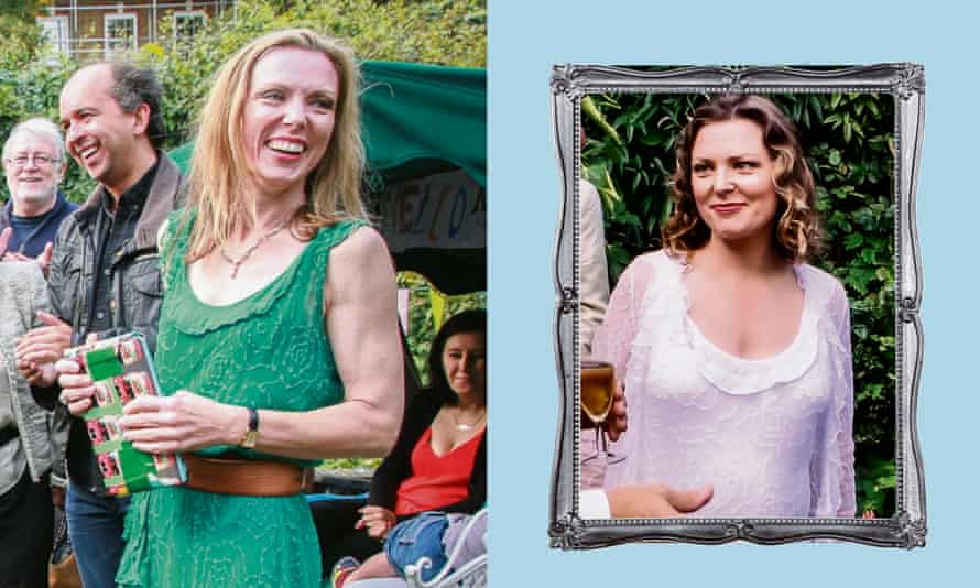 Lucy Morgan dyed her wedding dress green and reused it (left) after her divorce.