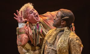 Adam Gillen, left, as Mozart and Lucian Msamati as Salieri in Amadeus at the Olivier.