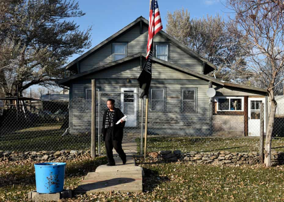 Honorata Defender canvassing in the remote settlement town of Selfridge on Thursday with information on how to vote for Standing Rock tribal members.
