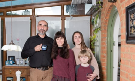 Jurgen Huber and his wife Zoe and children Laurie (7) and Anouk (12). A family who live in a very eco-friendly house. Photographed at their home in west London