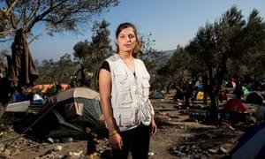Aid worker Christina Dimakou on the Greek island of Lesbos.