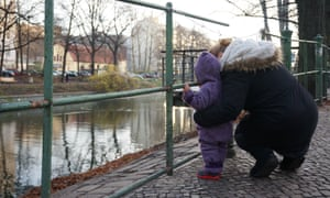 Sanaa, who fled the war in Syria, with her daughter, Siba, in Berlin