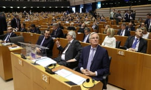 Michel Barnier (front right) and Jean-Claude Juncker (front centre) in the European parliament for this afternoon's plenary session.