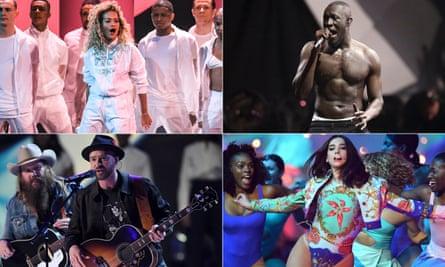Live at the Brits … clockwise from top left, Rita Ora, Stormzy, Dua Lipa and Justin Timberlake.