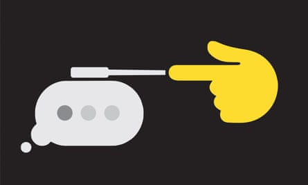 Illustration of a hand in the shape of a gun with an online speech bubble coming out of it