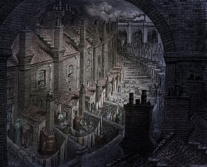 Victorian London streets with back to back terraces. From London, a Pilgrimage, by Gustave Doré and Blanchard Jerrold, 1872.