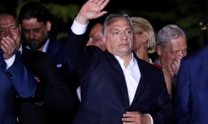 Hungary's prime minister addresses supporters on election night.