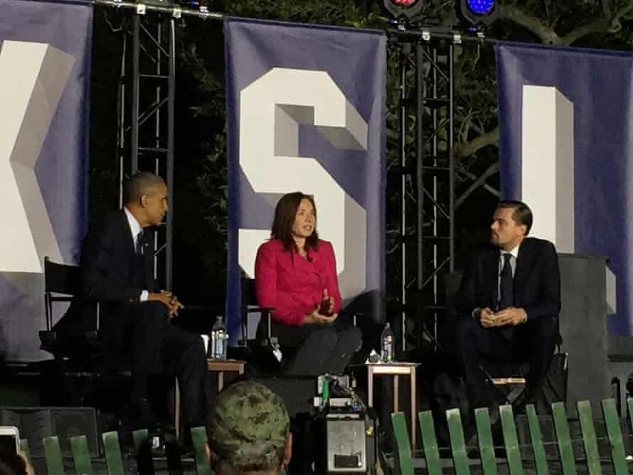 Dr. Katharine Hayhoe discusses the role of Citizens' Climate Lobby citizen volunteers in building political will for carbon pricing that returns all revenues to households, durign the South by South Lawn featured climate event with Pres. Barack Obama and Leonardo DiCaprio.