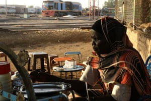 Kaltoom Ilias' tea stall near the workshops of the Sudan Railway Corporation in Atbara