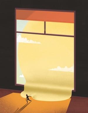 illustration of woman opening window
