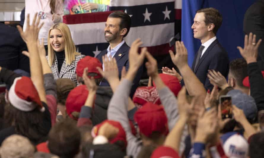 Ivanka Trump, Donald Trump Jr and Jared Kushner attend a Trump campaign rally in Manchester, New Hampshire, on 10 February.